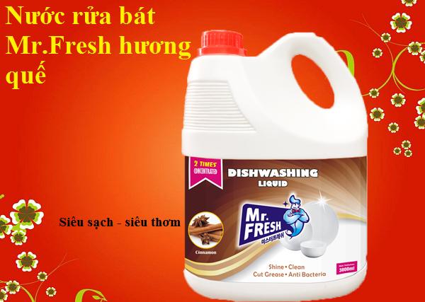 Nước rửa bát Mr.Fresh hương quế. Nước rửa bát thiên nhiên hương quế Mr.Fresh 4,2L