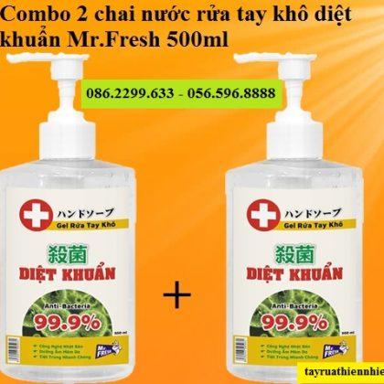 Combo 2 chai nước rửa tay khô diệt khuẩn Mr.Fresh 500ml