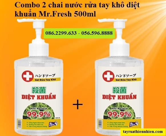 Combo 2 chai nước gel rửa tay khô diệt khuẩn Mr.Fresh 500ml