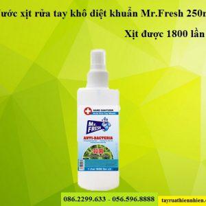 Nước xịt rửa tay khô nhanh diệt khuẩn Mr.Fresh 250ml: công dụng, giá bán sỉ lẻ