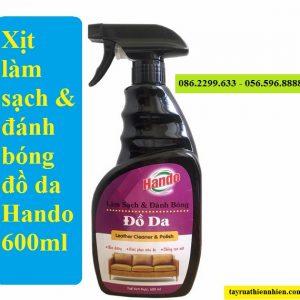 Xịt làm sạch & đánh bóng đồ da Hando 600ml siêu sạch: giá bán sỉ lẻ, công dụng, hướng dẫn sử dụng